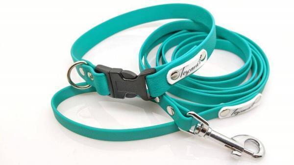 medium kit collare e guinzaglio per cani colore smeraldo toscani store