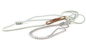 guinzaglio expo con serpentina e paracord incisione su targhetta in pelle toscani store argento azzurro