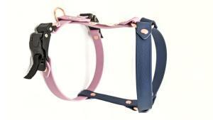 pettorina H per cani con cricchetti microregolazione colore cipria e ottanio minuteria oro rosa vista laterale toscani store