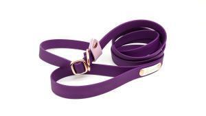 guinzaglio retriever per cani toscani store 20mm viola rock e cipria con minuterie oro rosa