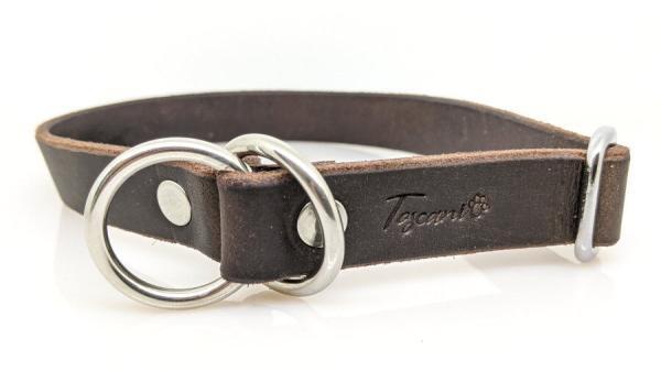 Collare per cani in cuoio lavorato a mano comor tabacco modello retriever con minuterie argento